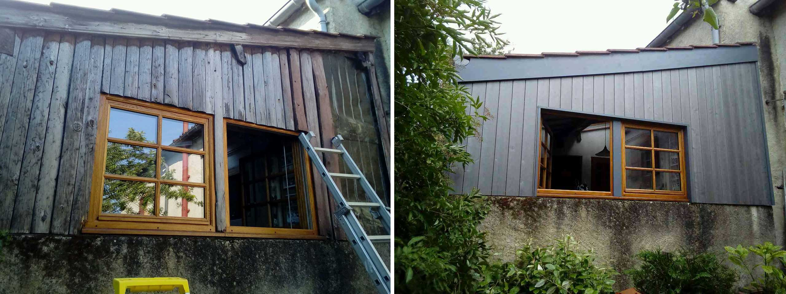 Cladding before and after